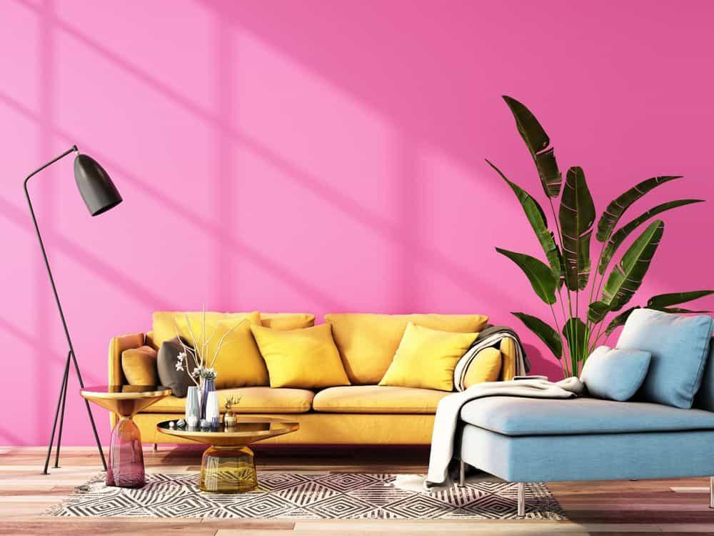 interior design for color trend 2020,3d rendering,3d illustration
